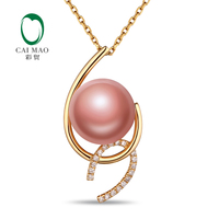 Antique 11 12mm Freshwater Pearl 18k Yellow Gold Natural Diamonds Engagement Pendant Caimao Jewelry