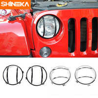 SHINEKA Car Accessories Iron Head Light Cover Front Face Light Guard for Jeep Wrangler JK 07-16