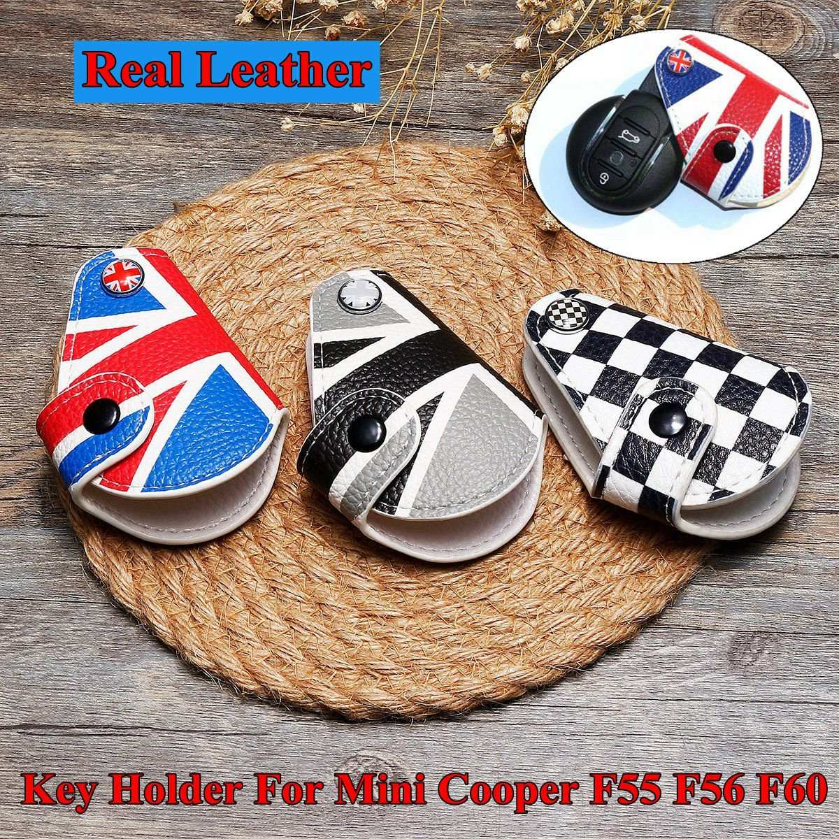 For <font><b>Mini</b></font> Cooper Countryman Clubman R55 R56 F55 <font><b>F56</b></font> F60 Car Styling Accessorie Real Leather Remote Fob Key Case Bag Cover <font><b>Holder</b></font> image