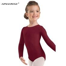 Спортивный гимнастический купальник с длинными рукавами для маленьких девочек; трико на молнии из лайкры и спандекса; костюм для балета; танцевальные костюмы для детей