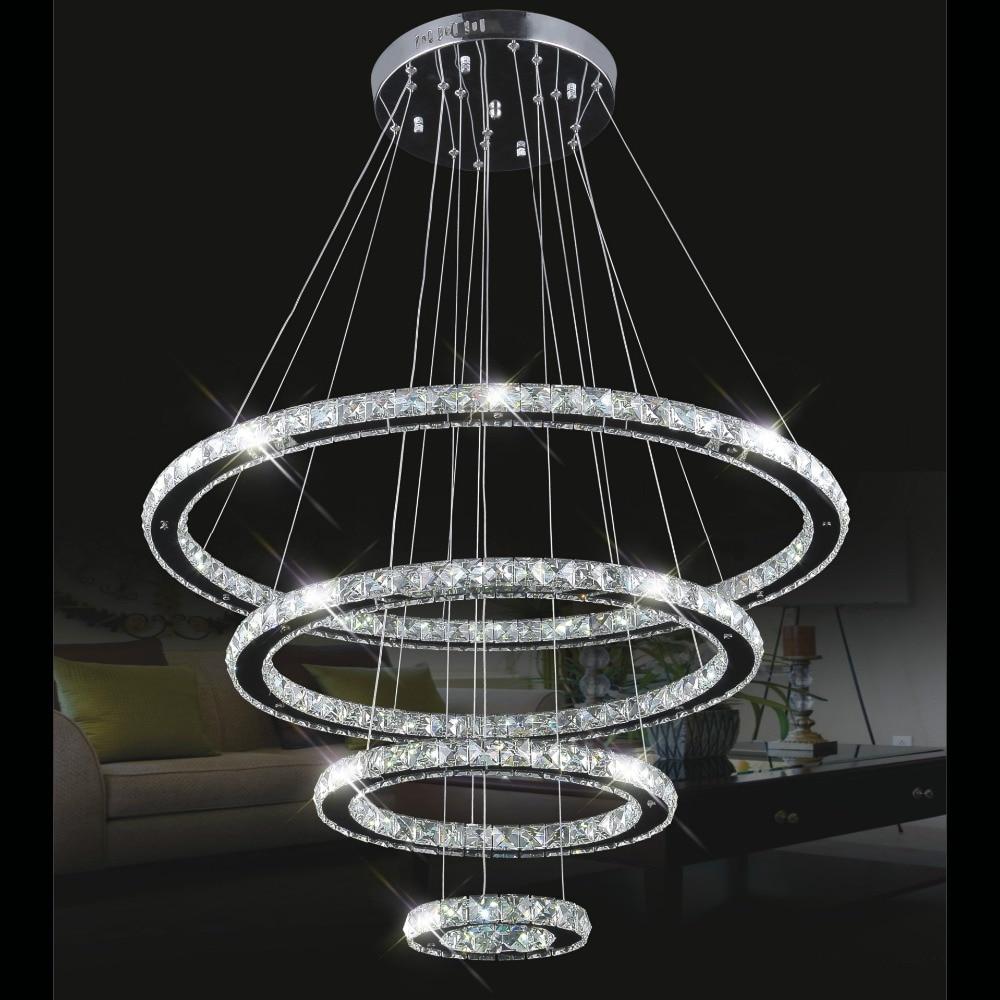 4 Circles 20 40 60 80cm K9 Crystal Pendant Lamp Diamond Ring LED light Modern LED Circles Hanging Lamp Chandeliers Lighting 3 rings k9 crystal pendant lamp diamond
