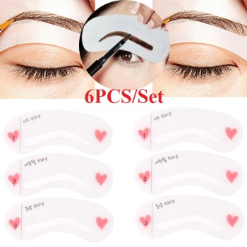 6PCS Grooming Eyebrow Stencil Kit Makeup Tools DIY Beauty Eyebrow Template Stencil For Women Beauty Tools Accessories