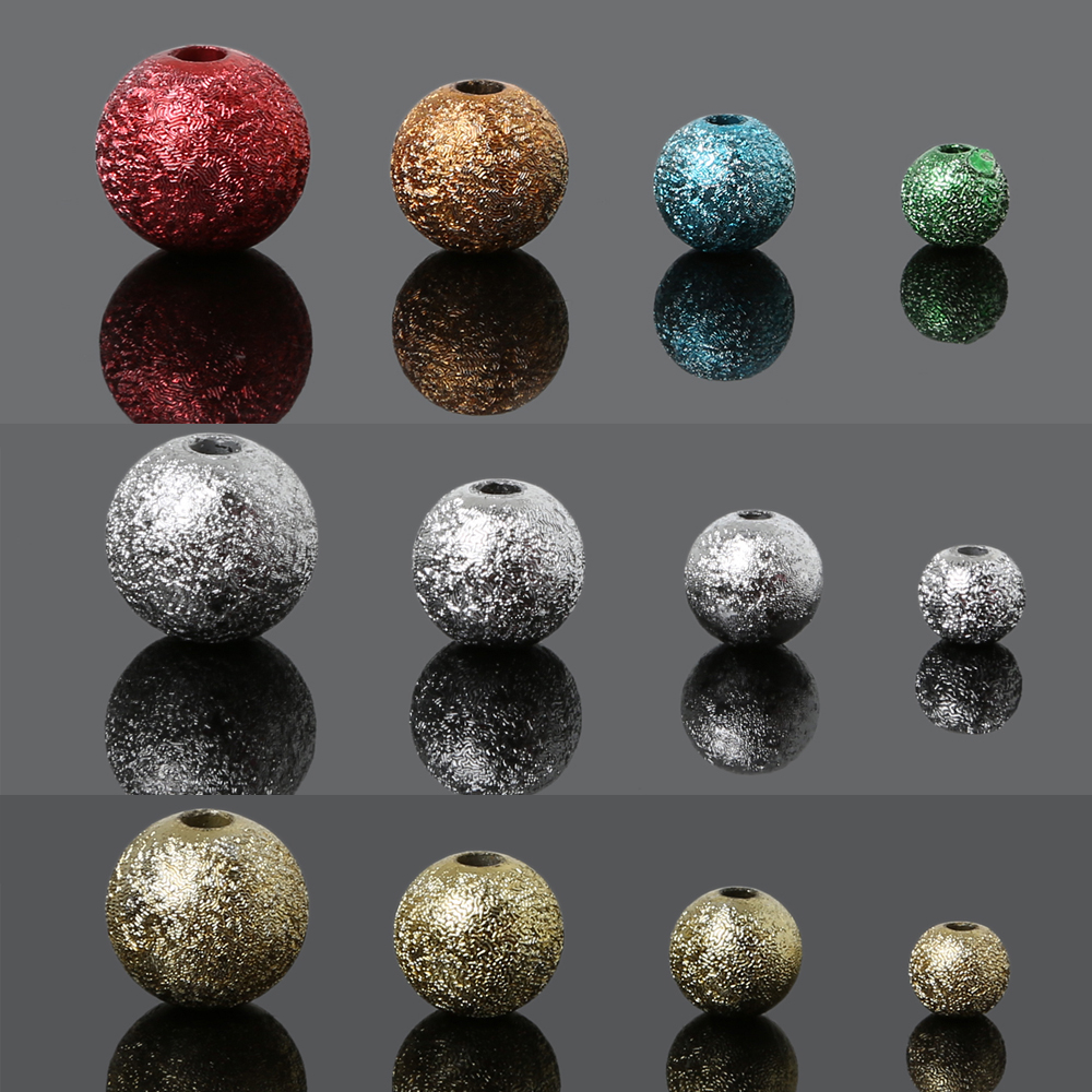 DIY Mixed/Silver/Gold/Rainbow Acrylic Round Ball Spacer Beads Charms Findings 6/8/10/12mm For Jewelry Making Craft