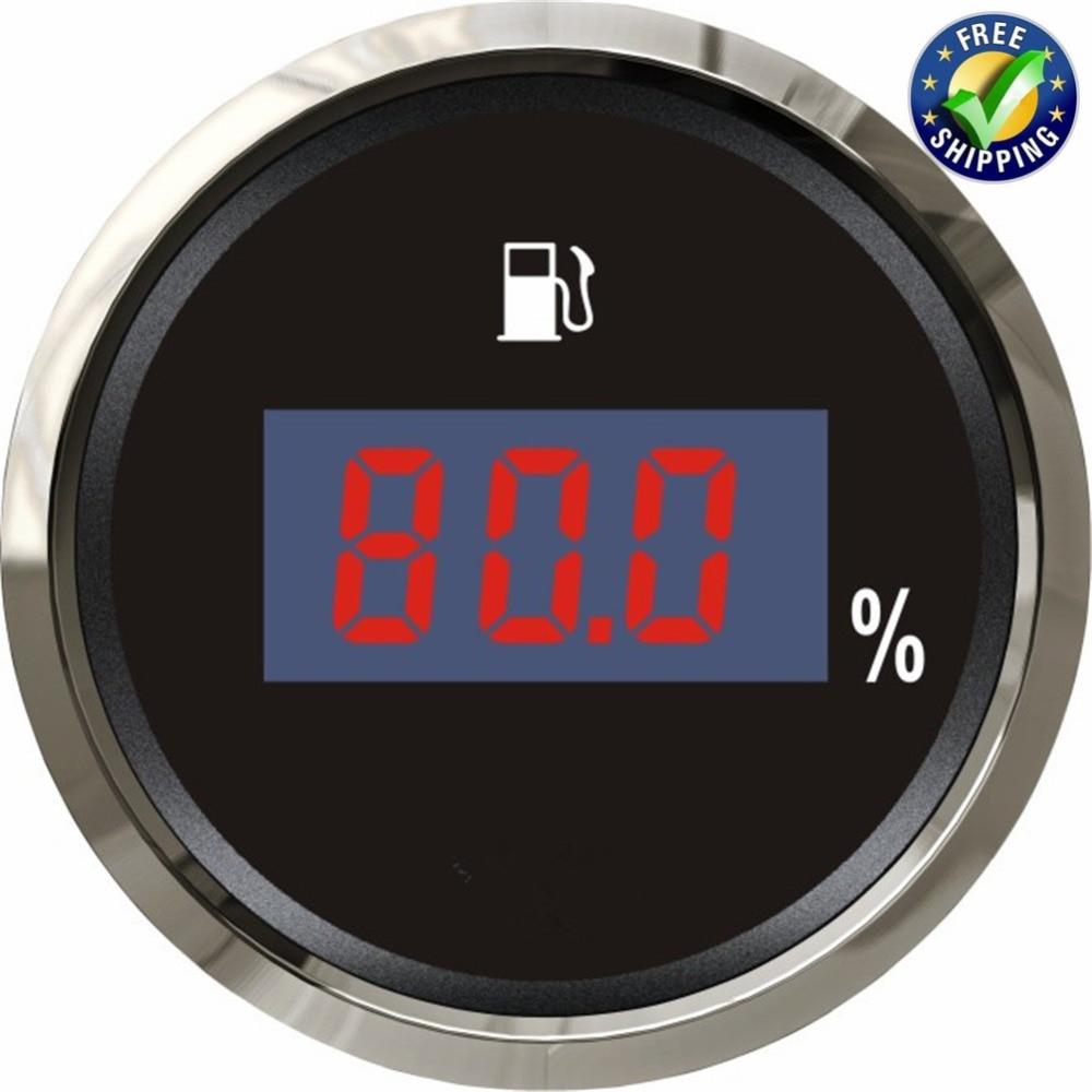0-190ohm Digital Fuel Level Gauges Modification 52mm 240-33ohm Fuel Tank Meters Waterproof 12v/24v With Backlight Black Or White Oil Pressure Gauges