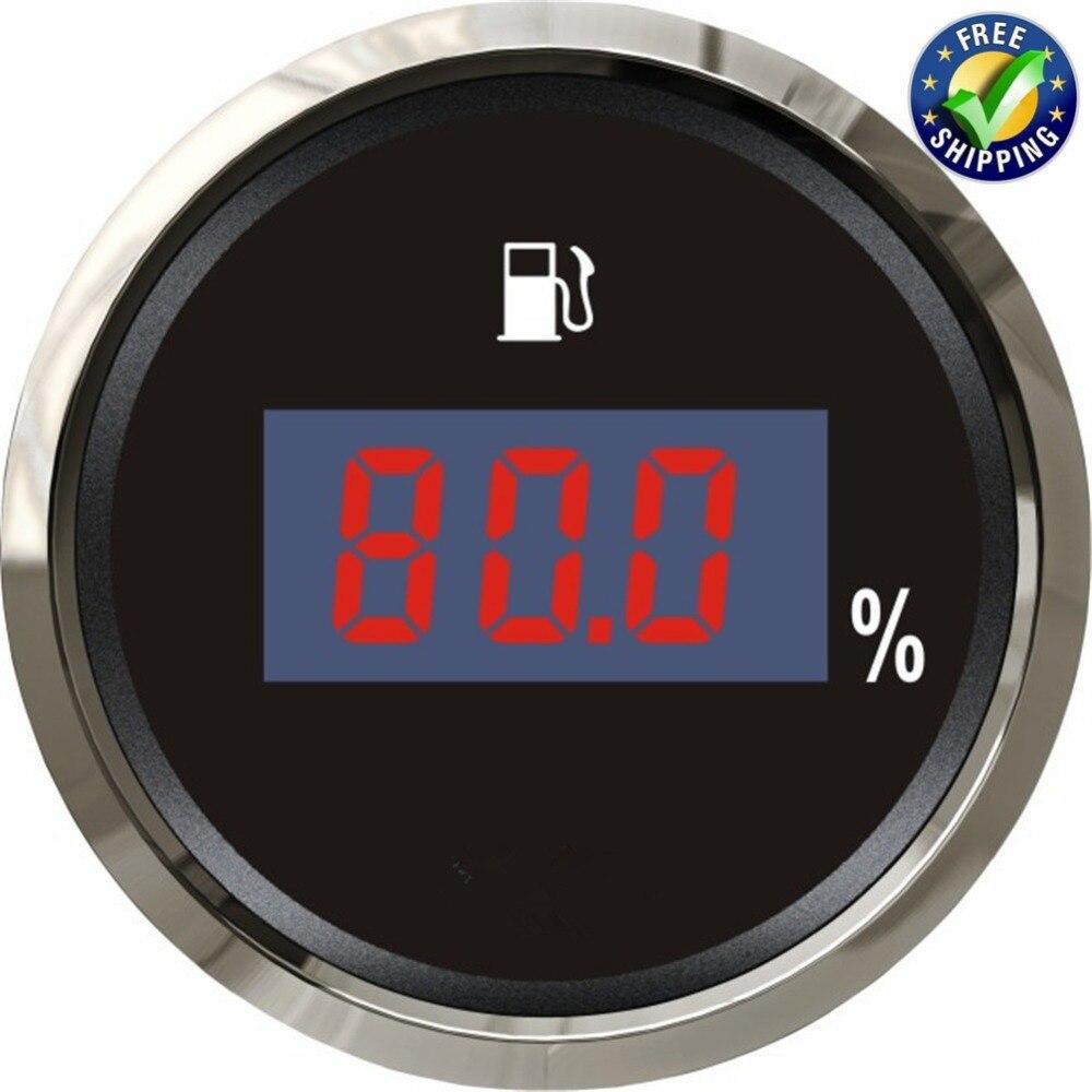 0-190ohm jauges de niveau de carburant numérique Modification 52mm 240-33ohm compteurs de réservoir de carburant étanche 12 v/24 v avec rétro-éclairage noir ou blanc