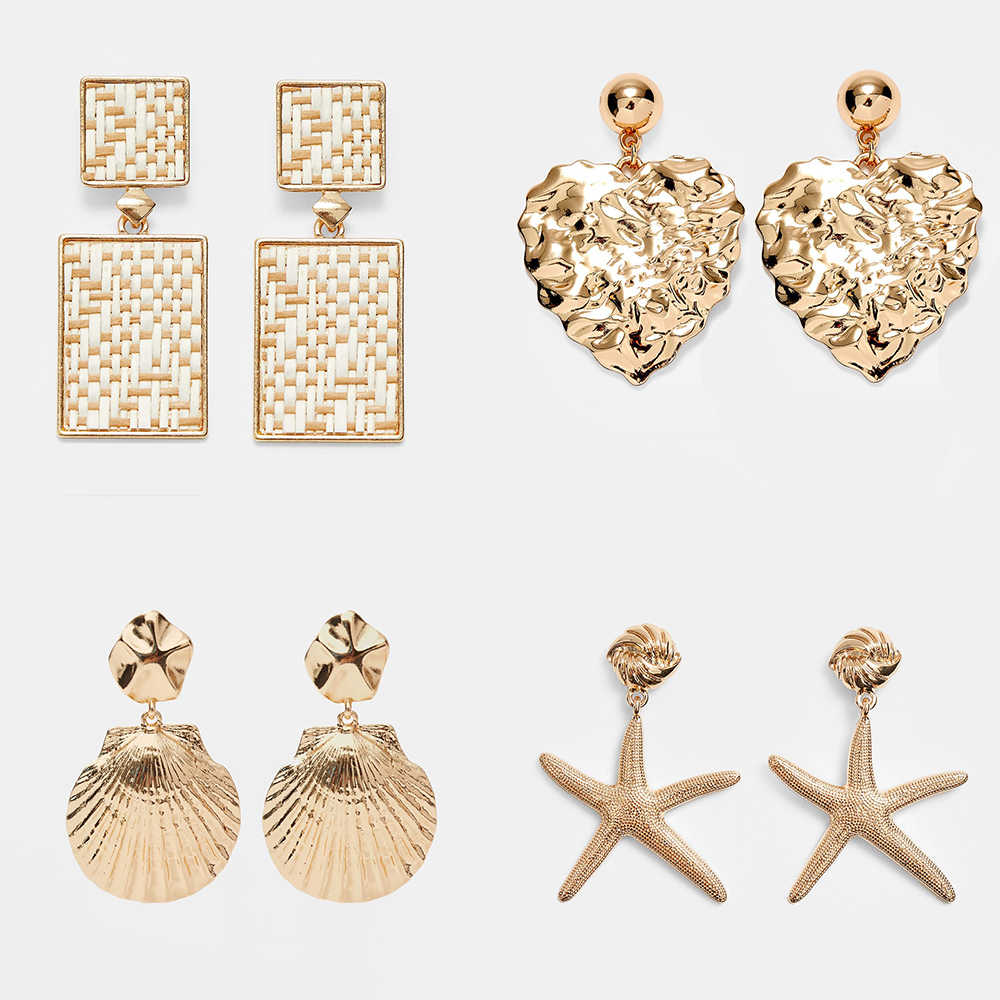 ZA Designs Beach Shell Drop Earrings For Women 2019 Punk Gold Color Starfish Statement Earrings Wedding Party Gifts Jewelry