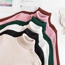 Camisola de gola alta confortável de boa qualidade das mulheres 2019 estilo coreano pulôver macio jumper camisola de malha superior de inverno pull femme