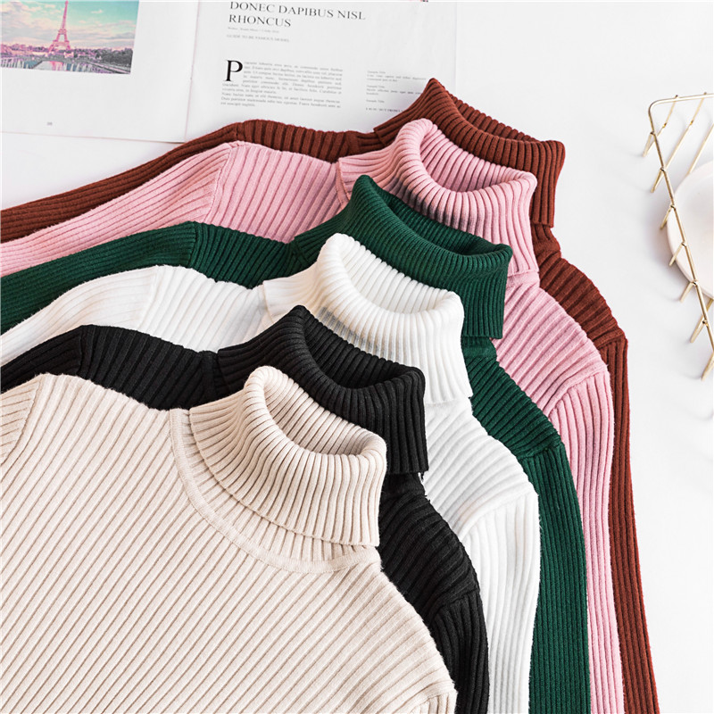 Good Quality Comfy Turtleneck Sweater Womens 2019 Women Korean Style Soft Pullover Jumper Winter Top Knitted Sweater Pull Femme