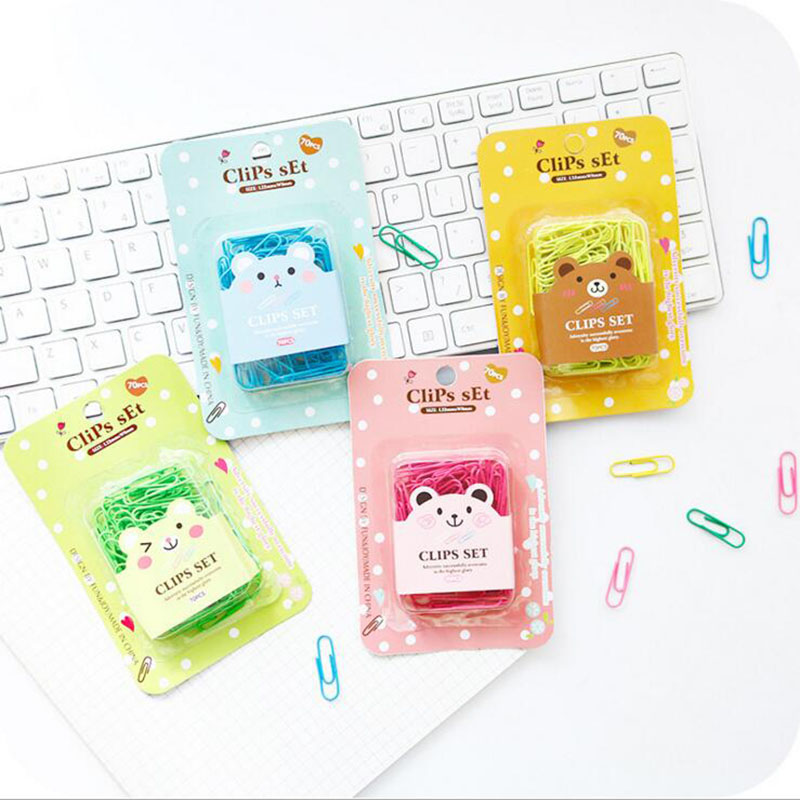 70pcs/box Kawaii Cartoon Paper Clips Fluorescent Color Mini Bookmark School Office Supply Student Stationery Decor DIY