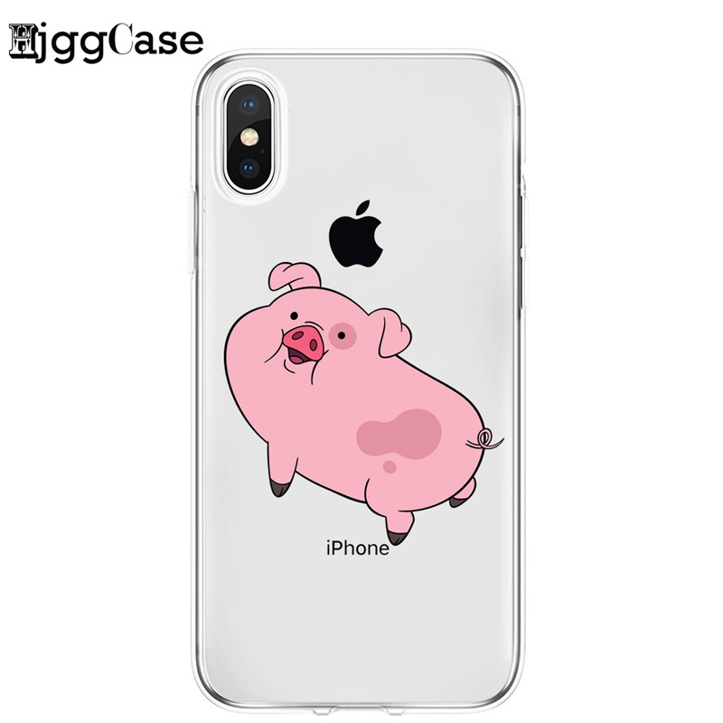 Pink Pig Clear Soft Silicone Phone Skin Coque Phone Case For iPhone11 Pro Max 14