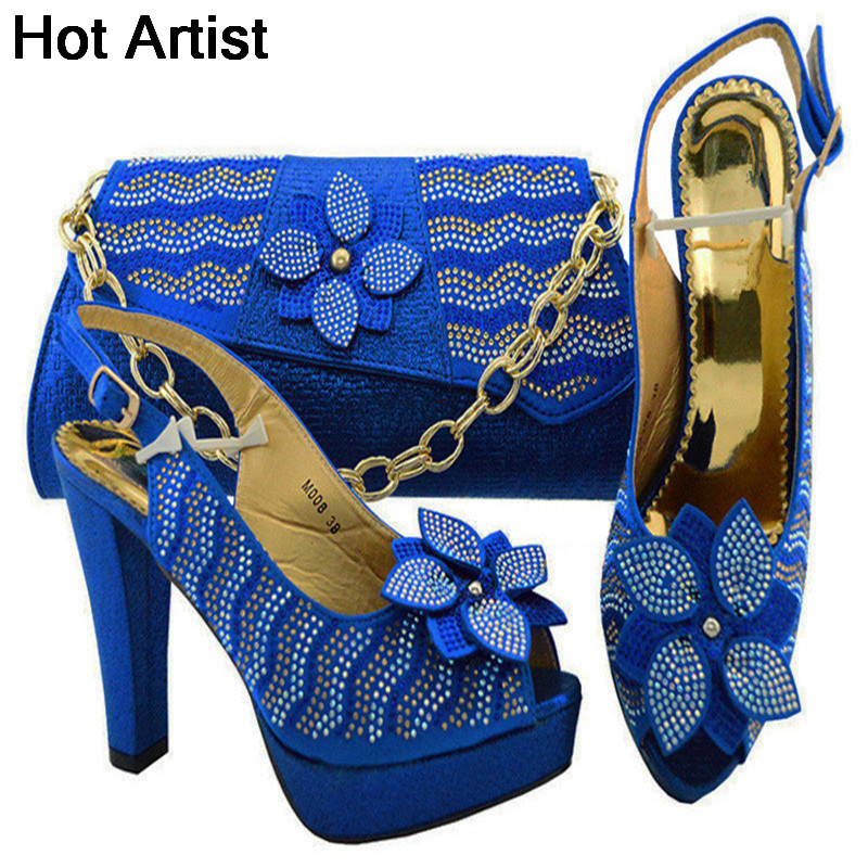 Hot Artist New Arrival Nigerian Woman Shoes And Bag Sets Italian Style High Heels Shoes And Bags Set For Wedding Dress YK008