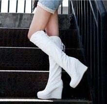 Boots PU White silk high-leg women's shoes small yards 31 32 33 40 41 42 wedges high heel 10CM Platform 2.5CM EUR Size 30-43