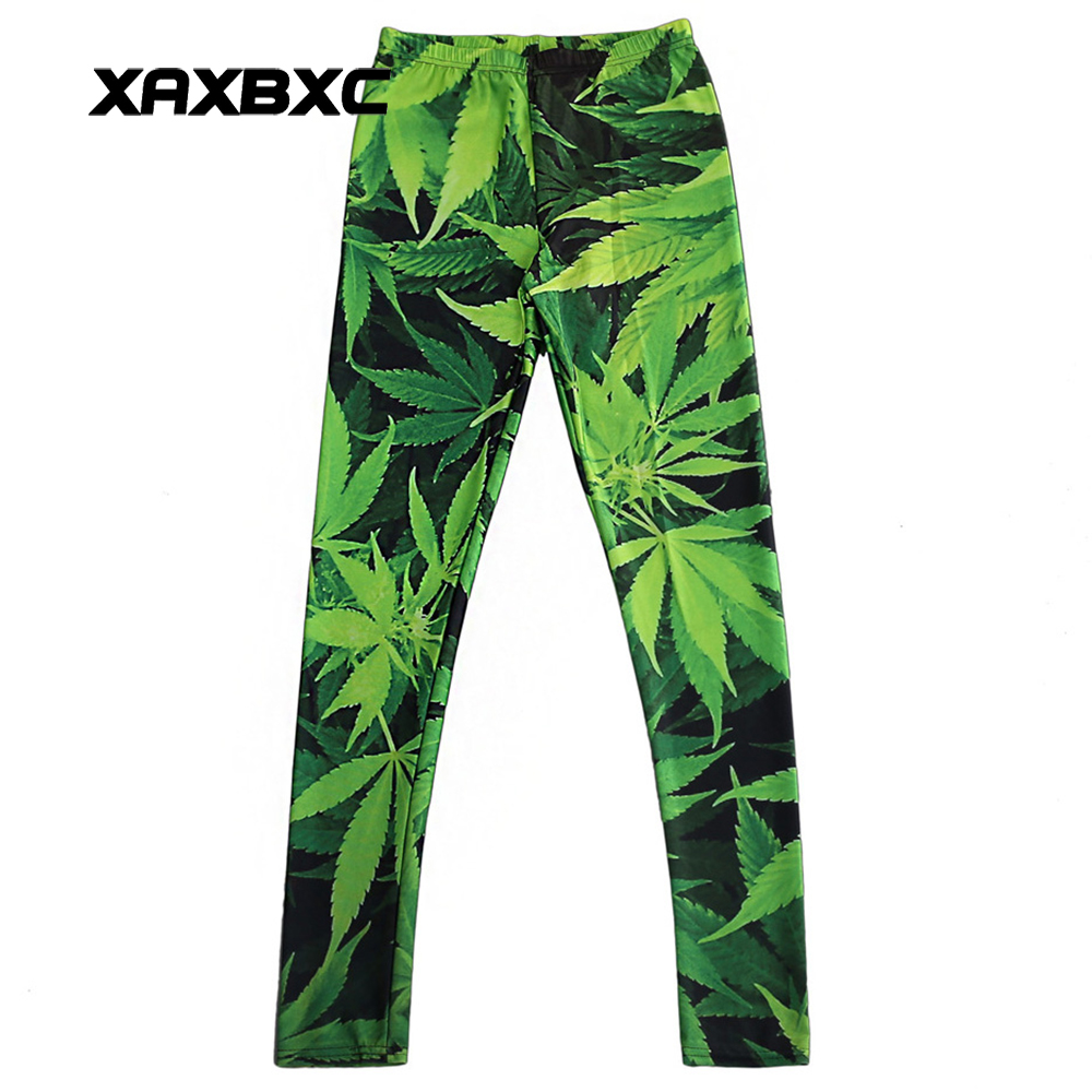 New 3255 Sexy Girl Pencil Pants Green Plant Maple Leaf Weed Printed Elastic Slim Fitness Workout Women   Leggings   Plus Size