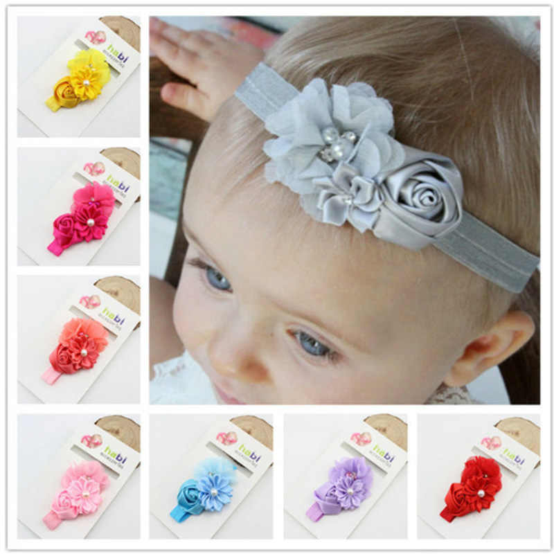 baby girl headband Infant hair Band newborn Headwear tiara headwrap Toddlers Ribbon Kids Flower pearl turban Hair Accessories 32