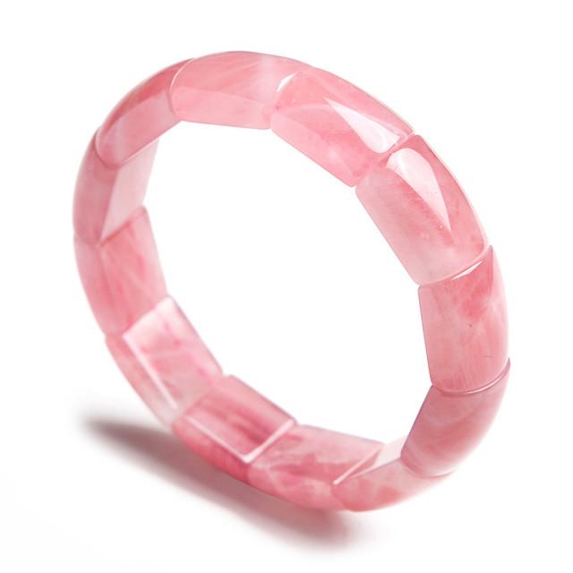 Genuína Pedra Natural Cristal de Quartzo Rosa Pulseira Trecho Femme Retângulo Bead Moda Jóias Mulheres Pulseira Pulseiras