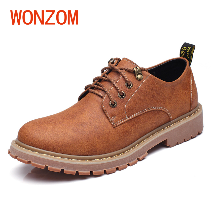 WONZOM Size 37-47 2018 New Fashion Casual Shoes For Men Lace Up Brand Male Vintage Style Shoes Zapatos Masculino Chaussure Homme 2016 new autumn winter man casual shoes sport male leisure chaussure laced up basket shoes for adults black