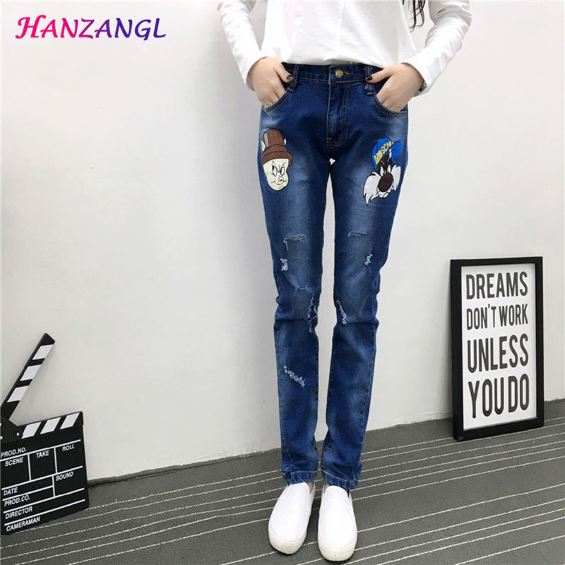 HANZANG spring autumn Women s Brand jeans 200 pounds Fat mm Cartoon animation cowboy trousers Female