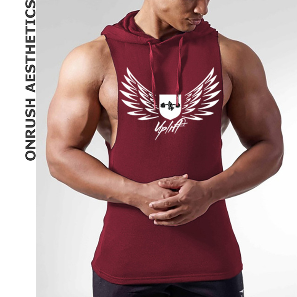 OA Men's New Fitness Hooded Vest Summer Bodybuilding Gyms Sleeveless Hoodies   Tank     Tops   2018 Fashion Comfort Casual Clothes