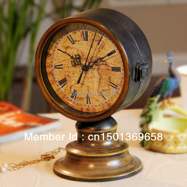 Double sided clock iron clock table clock mute antique clock double sided clock iron clock table clock mute antique clockimitate patina process gumiabroncs Image collections