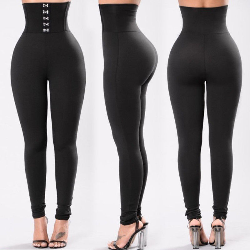 Women Compression Fitness Pants Solid Black Leggings Ladies Elastic Waist Sexy Streetwear Fashion Buttons Push Up Female Legging