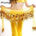 Mulheres Traje dança Do Ventre Lenço de Quadril Envoltório Lantejoulas Cinto 58 Moedas Chiffon Saia FR4