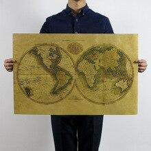 Vintage The Old World Map Poster Detailed Antique 72 5x47 5cm Kraft Paper Poster Decoration