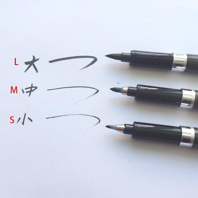 3PCS/set Brush Pen Calligraphy Pen  Chinese Words Learning Stationery StudentArt DrawingMarker Pens School Supplies 4