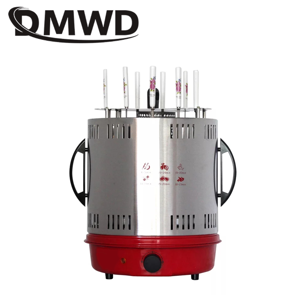 DMWD Smokeless Automatic Rotary Electric BBQ Grill Oven Barbeque Rotisserie Kebab Roast Rotation Machine 8 Lamb Skewers EU US 1pc hot sale 100%quality guaranteed doner kebab slicer two blades electrical kebab knife kebab shawarma gyros cutter