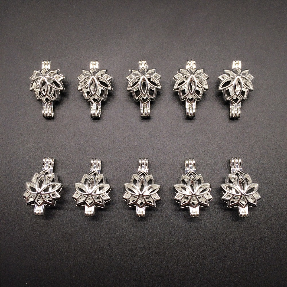 10pcs Bright Silver Creative Lotus Flower font b Jewelry b font Making Supplies Alloy Beads Cage
