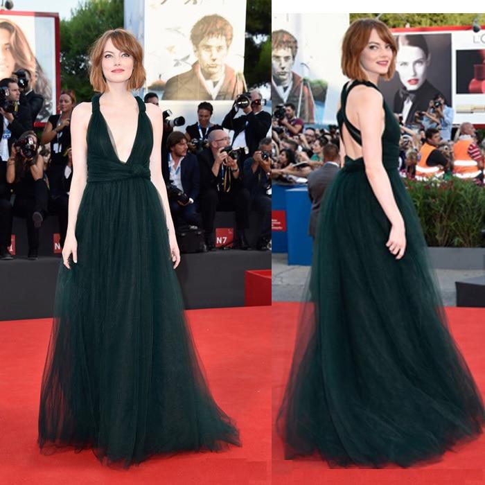 Image result for emma stone vestido verde