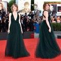 Sexy profundo decote em V preto verde celebridade vestidos no tapete vermelho vestido elegante longo vestido de festa vestidos ZE1737