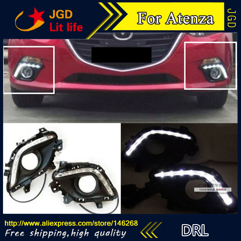 Free shipping ! 12V 6000k LED DRL Daytime running light for Mazda6 Mazda 6 Atenza fog lamp frame Fog light Car styling
