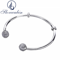 Slovecabin Brand Luxury Jewelry Original 925 Sterling Silver Bracelets Bangles Female Open Bangles CZ Crystal Charms