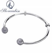 hot deal buy slovecabin brand luxury jewelry original 925 sterling silver bracelets bangles female open bangles cz crystal charms bracelets