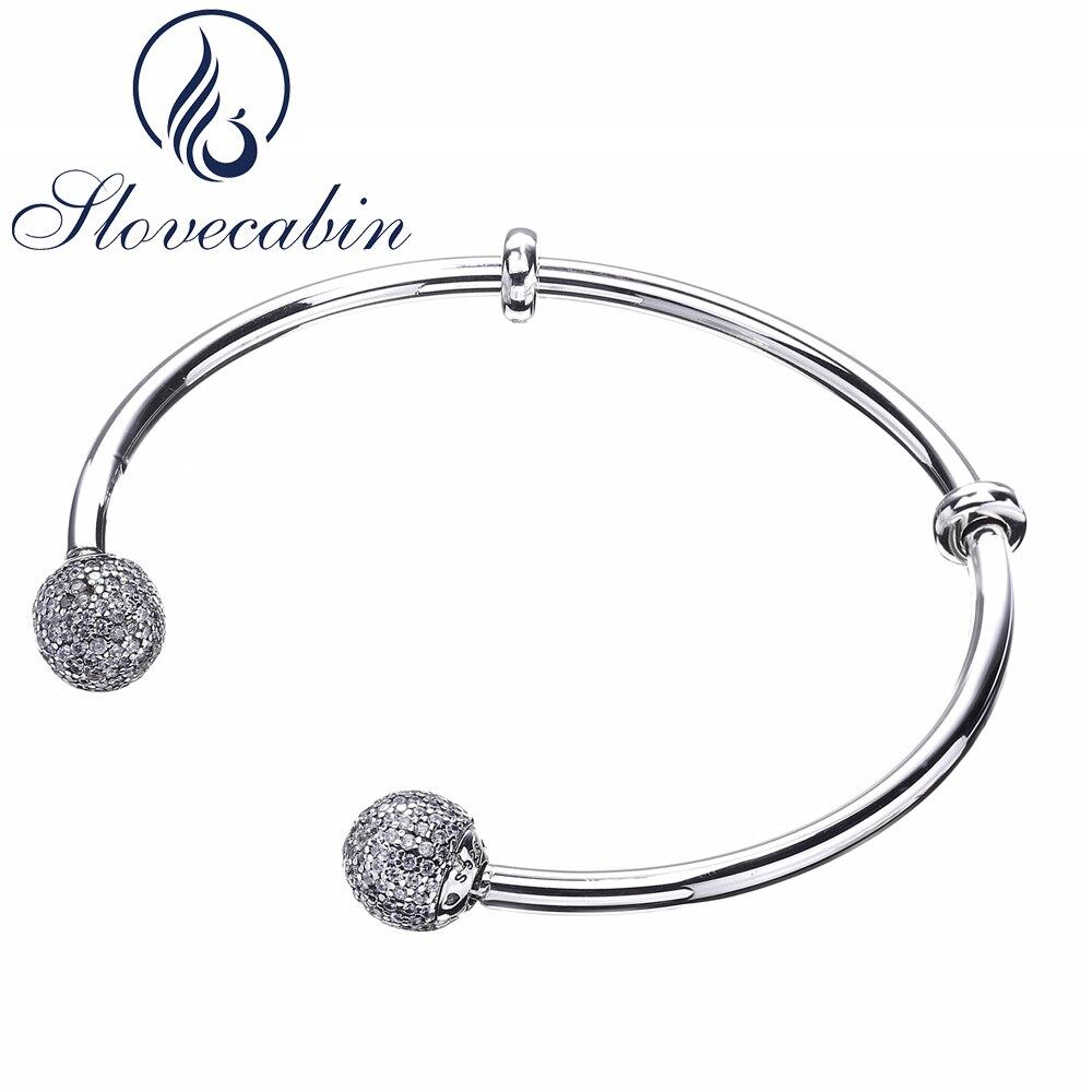 Slovecabin Brand Luxury Jewelry Original 925 Sterling Silver Bracelets Bangles Female Open Bangles CZ Crystal Charms Bracelets