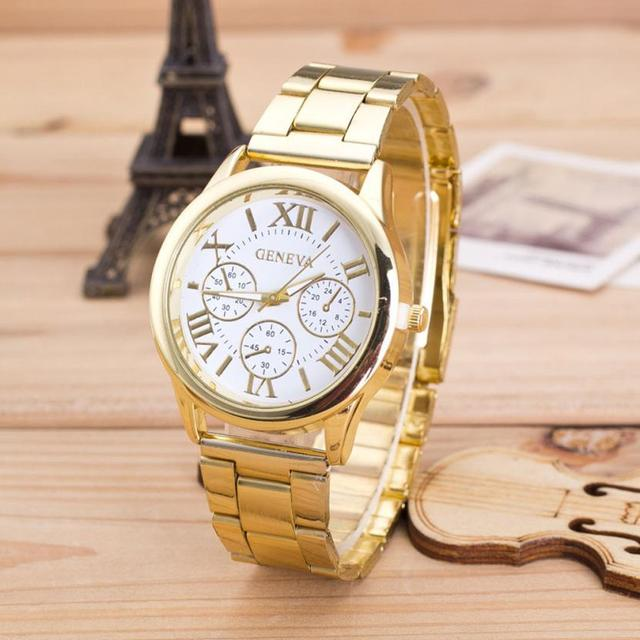 Top Quality Womens Roman Stainless Steel Waterproof Quartz Wrist watch Elegant F