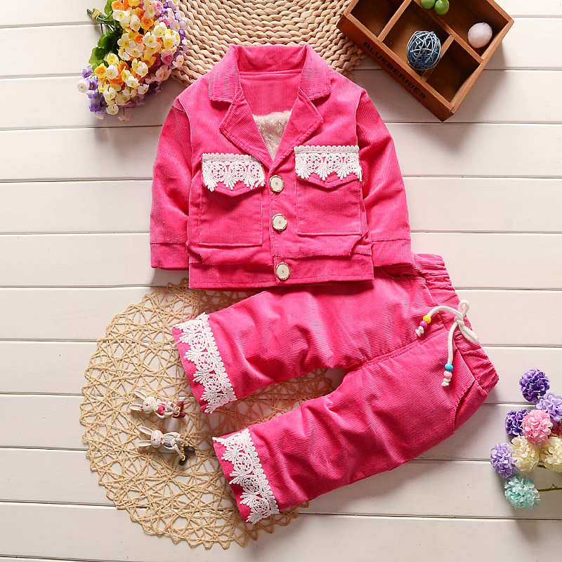 2018 Children New Winter baby sets girls insulation clothes full clothes with trouser skids Windproof coat two pieces 9M-5yers children sets girls winter sweater coat