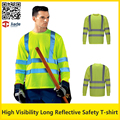 Hi vis  fluorescent yellow security work shirt quick dry birdeye breathable safety reflective T-shirt with reflective stripes