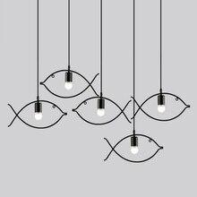 Retro pendant light indoor lighting Vintage  LED lights metal iron fish lampshade warehouse style light fixture