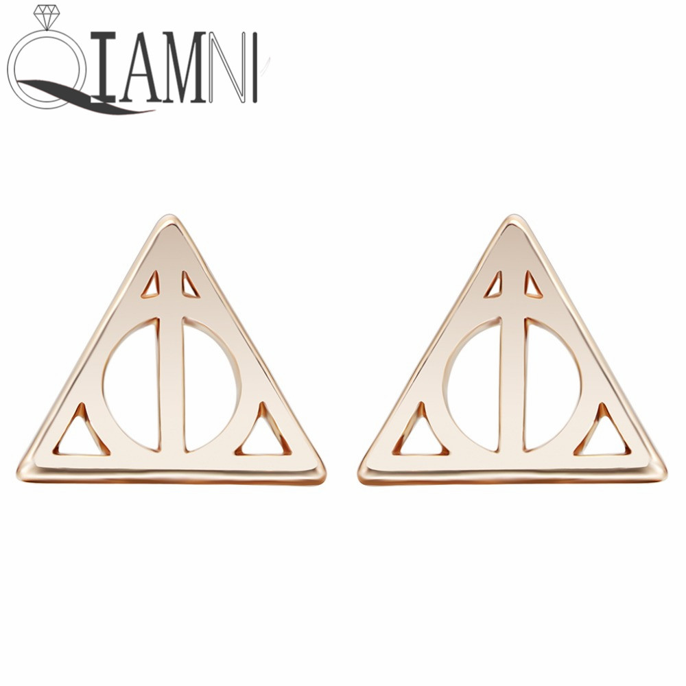 Geometric  Earrings Punk Jewelry Gold Silver Simple Best Gift Deathly Hallows Luna Triangle Stud Earrings For Women gold earrings for women