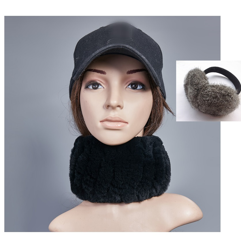 Real Rex Rabbit Fur Scarf With Real Rabbit Fur Earmuffs Baseball Cap Set Women Winter Warm Gift Set  Cheap Price US$15 H158