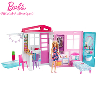Original Barbie Holiday House With Furniture and Doll Playset Friendship Pretend Toy Funny Accessories Gift Box For Children