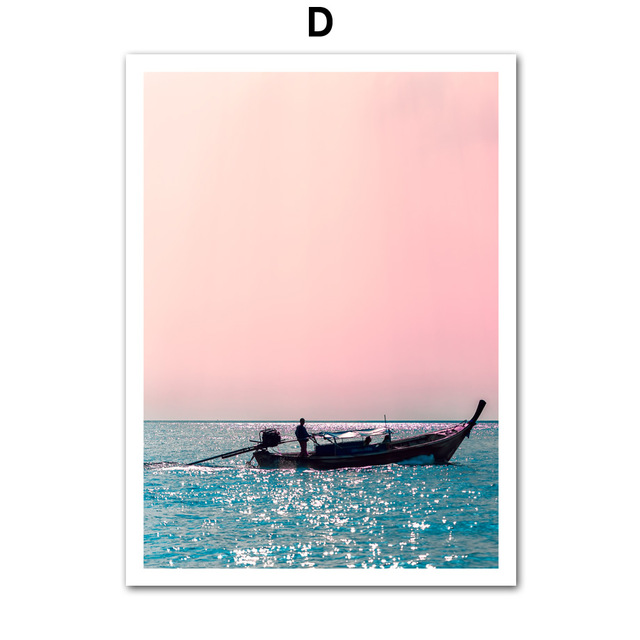 Canvas Painting Beach Ship Sea Wall Art Nordic Posters And Prints Pineapple Home Decoration Pictures For Living Room