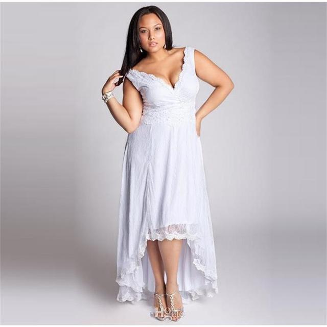 Plus Size Summer Bohemian Wedding Dresses High Low White Lace 2016 ...