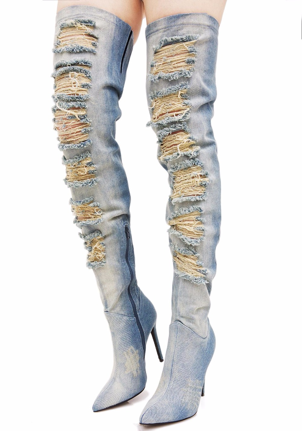 Hot Selling Denim Thigh-High Boots Ripped Peep Toe Pleated Blue Jeans Over the Knee Boot Size Zipper Gladiator Sandal Boot hot boots women sexy black thigh high boots peep toe soft leather back zip high heels over the knee boots gladiator sandal boots