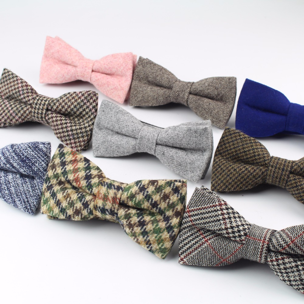 High Quality Wool Cotton Bow Tie Skinny Butterfly Narrow Solid Color Corbata Slim Necktie Cravat Clothing Accessories