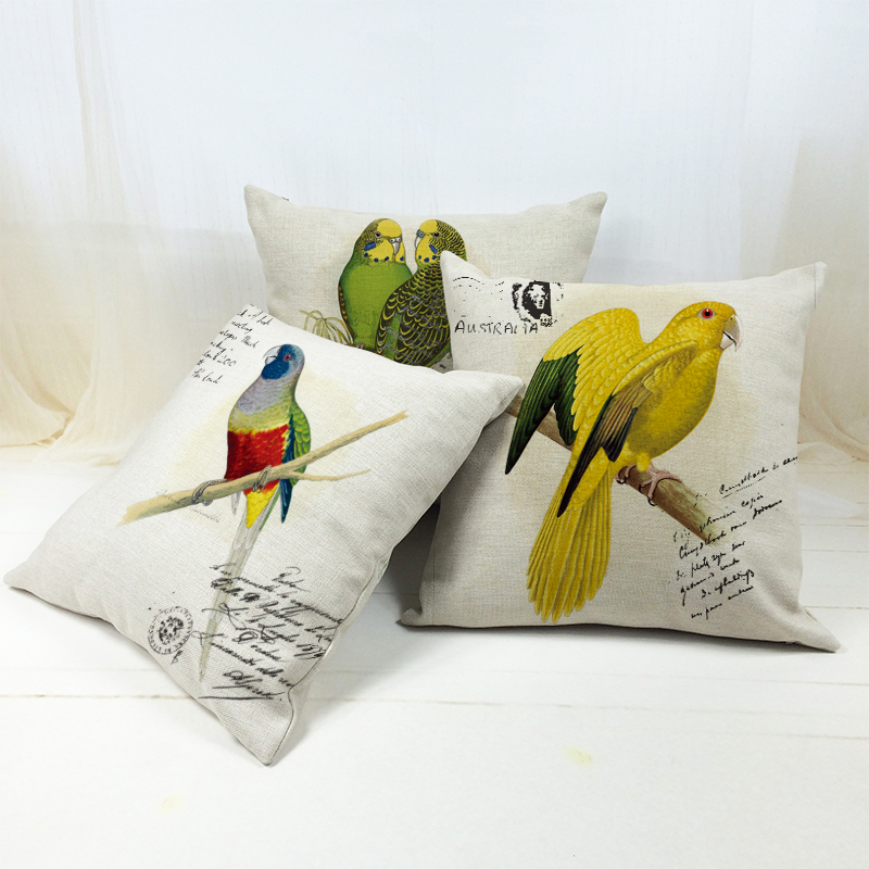 Linen Cotton Rainbow Parrot Custom Cushion Covers Colorful Birds Parrot Pillows Covers Throw Pillows Cases kids Gift cojin