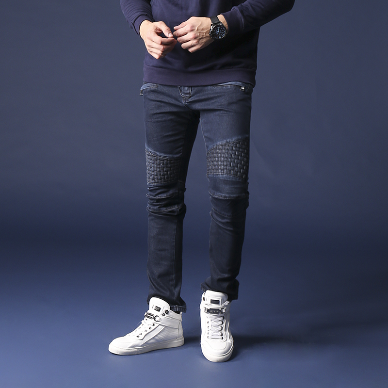 Mens Denim Jeans High Quality Man Jeans Fashion Design Elastic Slim Straight Jeans Men Skinny Biker Jeans Men 29-42 dsel brand men jeans denim white stripe jeans mens pants buttons blue color fashion street biker jeans men straight ripped jeans