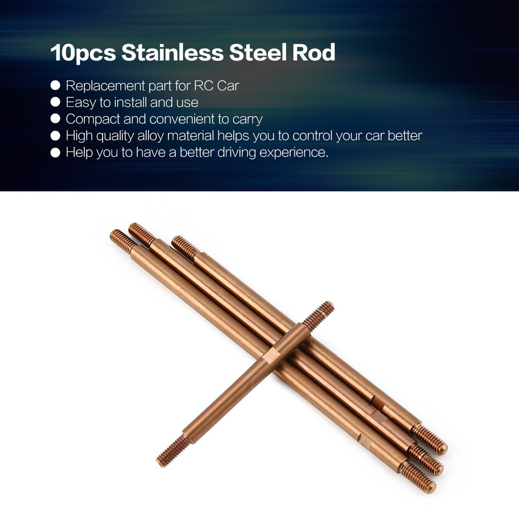 10pcs Stainless Steel Rod Sticker Bar for RC Crawler RC Off-road Car Model Traxxas Trx-4 324mm Wheelbase Spare Parts