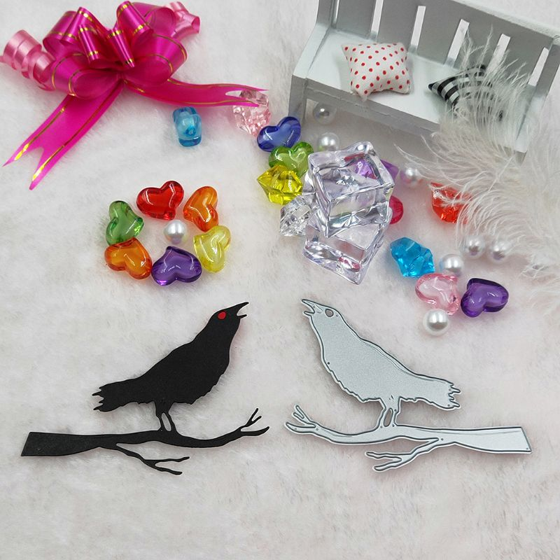 OOTDTY Crow Bird Metal Cutting Dies Stencil DIY Scrapbooking Album Stamp Paper Card Embossing Crafts Decor in Cutting Dies from Home Garden